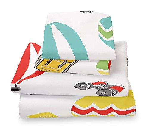 Twin Explorer Hot Air Balloon Print Sheet Set for Kids Bedding- Double (Hot Sheet)