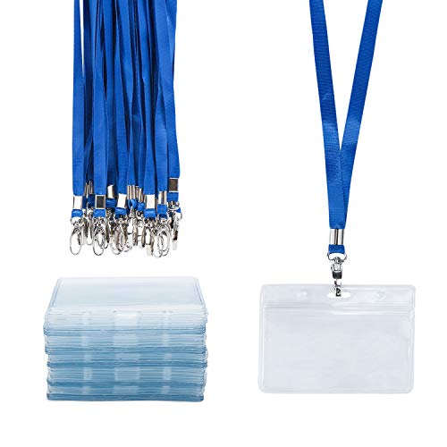 Conference Lanyard - ID Badge Holder with Lanyard, Segarty 50pcs Waterproof Horizontal Name Tags Holder Party Favors, Standard Cards Protector for School Students, Workshop Worker, Conference, Business,Fair