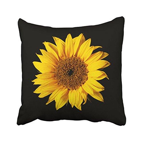 Pillow Sunflower (Emvency Throw Pillow Covers Sunflower Yellow On Black Sun Flowers Decor Pillowcases Polyester 16 X 16 Inch Square Hidden Zipper Home Cushion Decorative Pillowcase)