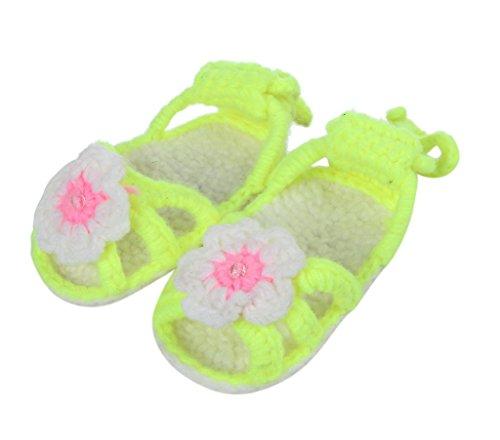 Smile YKK One Size 1 Paar Baby Unisex süße Stil Strickschuh Strick Schuh Blume Form 11cm Orange Hellgrün