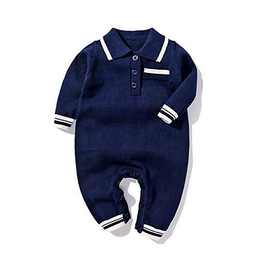 JooNeng Baby Boy Knitted Romper Longsleeve Gentleman Autumn 1Pcs Jumpsuits Christmas One Pieces (0-3 Months, Navy Blue)