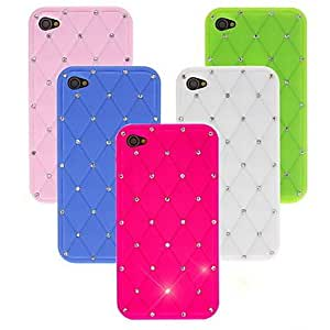 LZX Shiny Silicone Soft Case with Diamond for iPhone 4/4S (Assorted Colors) , Rose