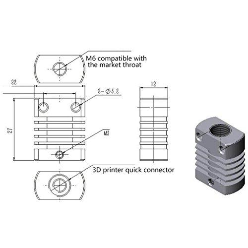 MagiDeal Accesorios de Impresora 3D de Aleación De Aluminio Disipador de Calor Mk10 Herramientas: Amazon.es: Electrónica