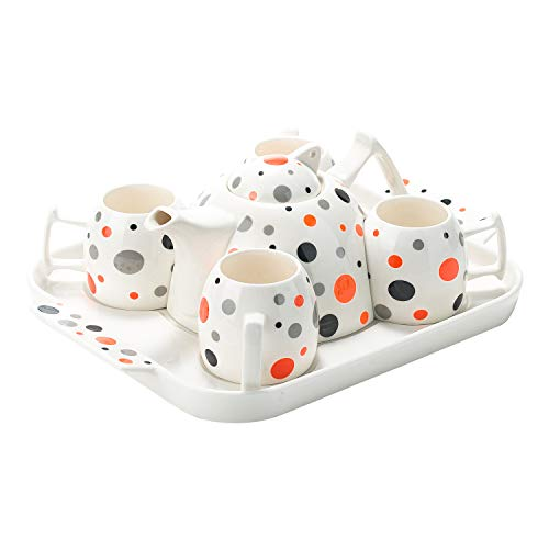Porcelain Polka Dot Tea Cup Coffee Set & Ceramic Serving Tray -
