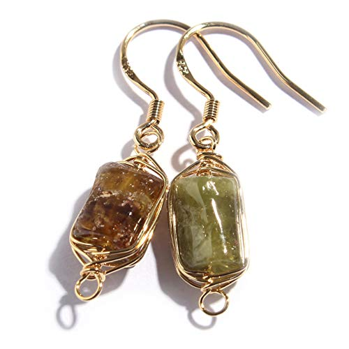 (Scutum Craft Natural Stone Dangle Drop Earrings with Gold Plated Wire Wrap and 925 Sterling Silver Hook Jewelry for Women (Raw Green Garnet))