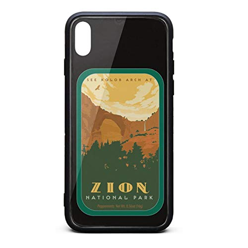 Zion National Park See Tempered Glass Phone Case for iPhone Xs MAX Unisex Fun Shock-Absorption Back Cover Protector