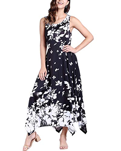 - BBYES Maxi Dresses for Women Crew Neck Sleeveless Summer Floral Maxi Long Dress with Pockets Black M