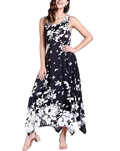 BBYES Women's Vintage Sleeveless Floral Empire Waist Flowy Maxi Long Dresses with Pockets Black 2XL Drop Waist Pleated Dress