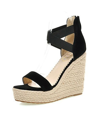 ShangYi Womens Shoes Wedge Heel Wedges / Heels / Platform Sandals Party & Evening / Dress / Casual Black / Red / Almond almond