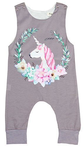 HappyMA Infant Toddler Baby Girls Romper Sleeveless Unicorn Printed Jumpsuit Bodysuit Clothes Set (9-12 Months)
