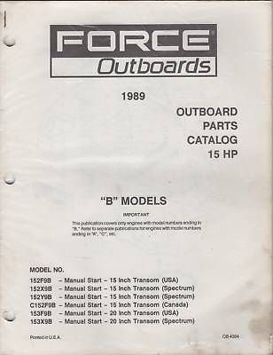 (1989 FORCE OUTBOARDS PARTS MANUAL 15 HP