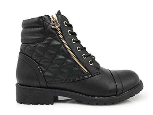 Enzo Romeo Womens Fashion Militär Vintern Kallt Väder Bekämpa Snörning Ovan Fotleden Snö Varma Kängor Josefina_black