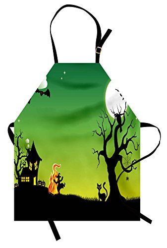 Ambesonne Halloween Apron, Witches Dancing with Fire and Flying at Halloween Ancient Western Horror Image, Unisex Kitchen Bib Apron with Adjustable Neck for Cooking Baking Gardening, Green Black -