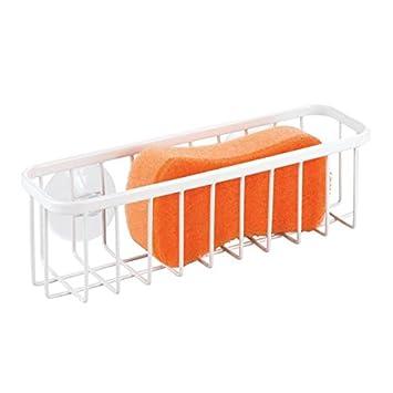 Matte Black MetroDecor 9252MDKEU XL Scrub Brushes,Scrubbies mDesign Metal Kitchen Sink Suction Storage Organizer Basket for Sponges Soap 2 Pack