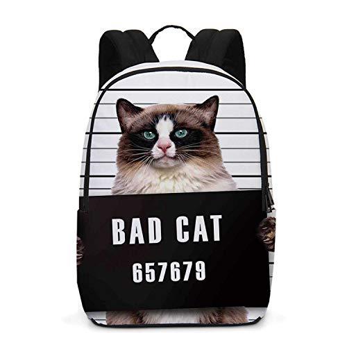 Cat Lover Decor Durable Backpack,Bad Gang Cat in Jail Kitty Under Arrest Criminal Prisoner Hangover Artsy Work for School Travel,One_Size