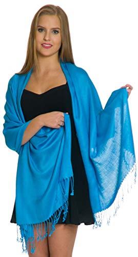 Pashmina Shawls and Wraps - Large Scarfs for Women - Party Bridal Long Fashion Shawl Wrap with Fringe Petal Rose Turquoise