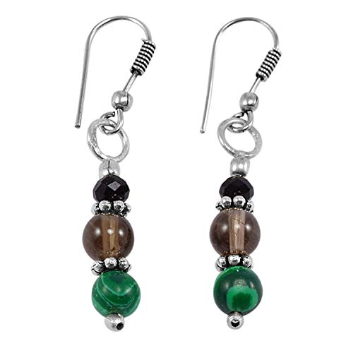Earrings Malachite Onyx - Silvestoo Jaipur Smoky Crystal, Malachite & Black Onyx Gemstone 925 Silver Plated Dangle Earring PG-130751