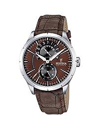 Festina Men's Retro F16573/6 Silver Leather Quartz Watch with Brown Dial