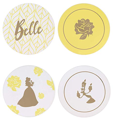 Beauty and the Beast Belle Themed Coaster Set – 4pc. Ceramic, Heavy Coasters - Ideal For Beauty and the Beast Disney Fans – 4 Unique Designs – A Beautiful Gift That Protects Tables From Drink Marks