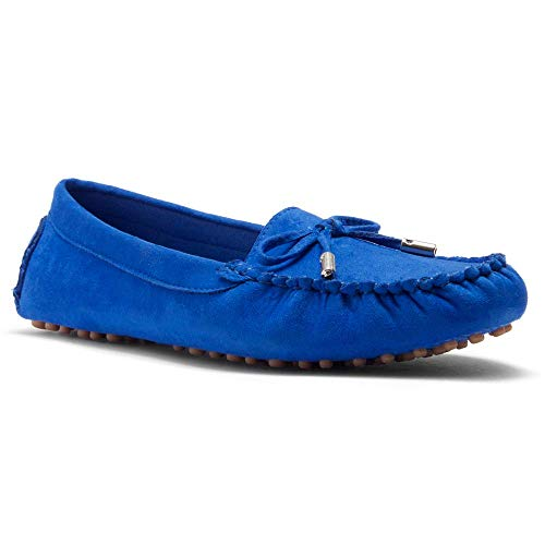 Herstyle Canal Women's Casual Bowknot Penny Loafers Moccasins Driving Shoes Slip on Flat Boat Shoes Royal Blue 11.0