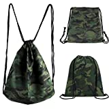CHIC DIARY Cinch Drawstring Backpack Gym Sack Bag Oxford Travel Dance String Bag for Women/Men/Girls/Boys/Kids (Camouflage) For Sale