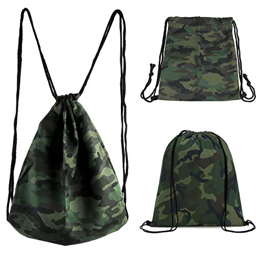 CHIC DIARY Cinch Drawstring Backpack Gym Sack Bag Oxford Travel Dance String Bag for Women/Men/Girls/Boys/Kids (Camouflage) For Sale