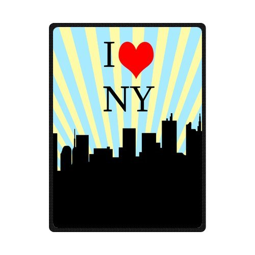 I Love NY New York City Paper Cut Sketch Blue And White Striped Fleece Throw Blanket 58