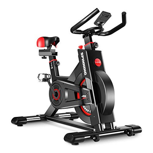 Dripex Upright Exercise Bikes (Indoor Studio Cycles) - Studio Quality with Heart Rate Monitor, Large Bidirectional Flywheel, Belt Drive, Infinite Resistance, LCD Displays, Hand Pulse ()