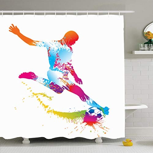 (Ahawoso Shower Curtain 60x72 Inches Competitions Soccer Player Kicks Ball Sports Recreation Sport Rainbow Star Stadium Training Team Waterproof Polyester Fabric Bathroom Curtains Set with)