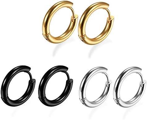 Fusamk Punk Rock Stainless Steel Long Hoop Earrings Feather Huggie Hinged Hoop Earrings,2PCS