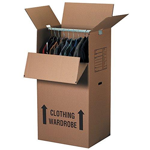 Aviditi 242046WARD Corrugated Wardrobe Box, 24'' Length x 20'' Width x 46'' Height, Kraft (Pack of 5) by Aviditi