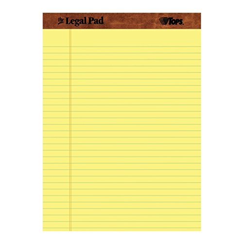 TOPS The Legal Pad Legal Pad, Perforated, Canary, 50 Sheets lGUvv per Pad, 8.5 x 11.75 Inch (4 Pack) by