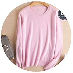 Autumn Winter Cashmere Cotton Blended Knitted Women Sweaters And Pullovers Jersey Large Pink