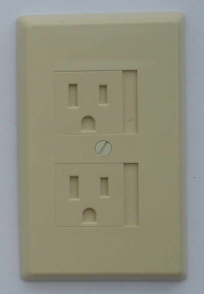 K Products Care Cover Sliding Door Outlet Cover, 3-Prong, Ivory
