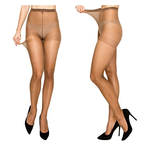 Women High Support Pantyhose Stockings - Silky Soft Light weight Comfortable Stretchy Waistband Sheer Nylon and Spandex Hosiery Panty hose with Reinforced Toe for Woman - Onesize Mocha