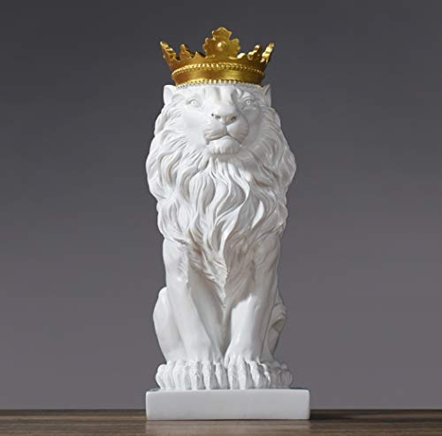 Black/White Crown Lion Sculpture Ornament Resin Home Entrance Decoration Mascot Animal Statue Art Crafts