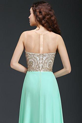 Babyonlinedress Vestido largo de fiesta de noche y de boda para mujeres vestido de chiffón con aplicaciones estilo elegante y A line cuello redondo sin mangas espalda transparente de cierre Verde