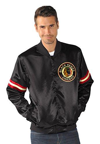NHL Chicago Blackhawks Satin Full Snap Retro Jacket, X-Large, Black