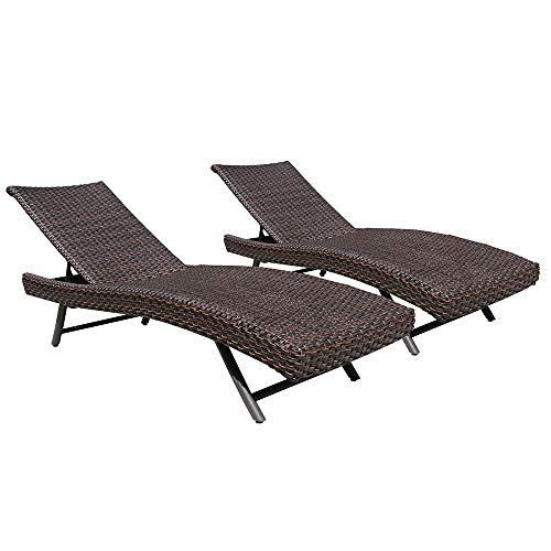 PATIOROMA Outdoor Adjustable Pool Rattan Chaise Lounge Chair with Steel Frame Patio Furniture, Espresso Brown PE Wicker, 2 Set