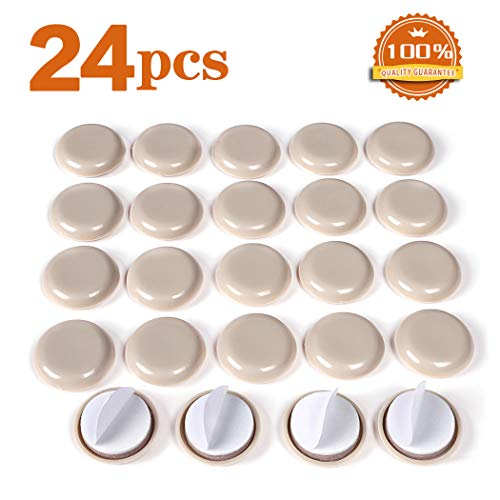 24 PCS Self-Stick Furniture Sliders,1 Inch Furniture Glides for Carpet,Furniture Moving Pads for Furniture-Adhesive Carpet Sliders