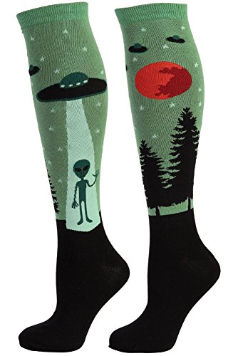 Sock It To Me I Belive Womens Knee High Tube Socks (Alien and UFO) One Size (Alien Shoes)