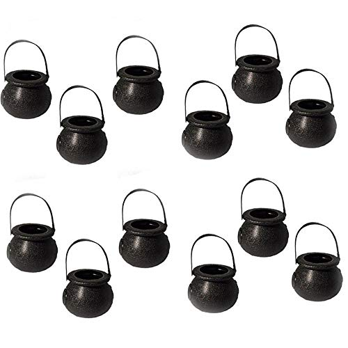 EORTA 12 Pieces Mini Candy Baskets Candy Kettles with Handle Skull and Witch Gallipot Designed Party Hanging Props Halloween Decoration for Home Bar Tree Craft, Black