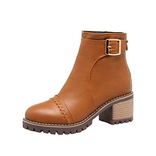YE Damen Chunky Heels Ankle Boots High Heels Stiefeletten mit Schnalle und Reißverschluss Elegant Bequem Schuhe Braun