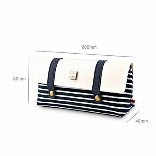 aikesi Make-up Handtasche Naval des Box-Tasche Canvas Feder Wind des Fall Streifen Bleistift mit Knopf Doppelte 1pcs (rot) 20 * 8 * 4 cm rot dunkelblau