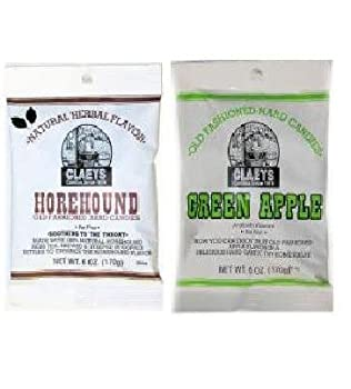 Claeys Green Apple and Natural Horehound Set (1 - 6oz Bag of Each)