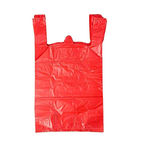 LazyMe 12 x 20 inch Plastic Sturdy T Shirt Bags, for Christmas Handle Merchadise Bags, Multi-Use Mudium Size, Red Plain Grocery Bags, Durable, 12 x 20inch (200,RED