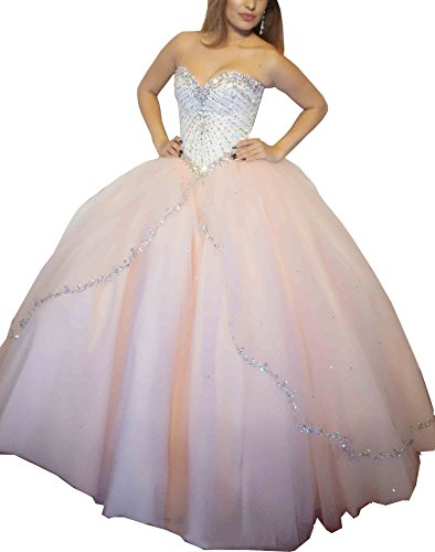 Elley Women's Sweetheart Beaded Bodice Sleeveless Ball Gown Sweet 16 Prom Quinceanera Dress Light Pink US2 ()