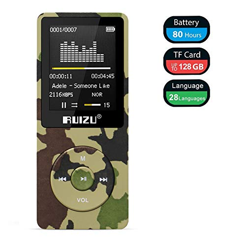 Mp3 Player, RUIZU X02 Ultra Slim Music Player with FM Radio, Voice Recorder, Video Play, Text Reading, 80 Hours Playback and Expandable Up to 128 GB (Camo Green)