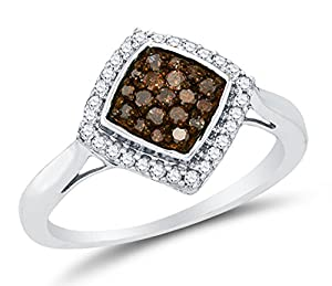 Size 5.5 - 10K White Gold Chocolate Brown & White Round Diamond Halo Circle Engagement Ring - Channel Set Square Princess Center Setting Shape (1/3 cttw.)