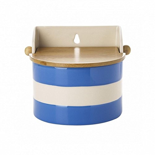 - Cornishware Blue and White Stripe Stoneware Salt Box